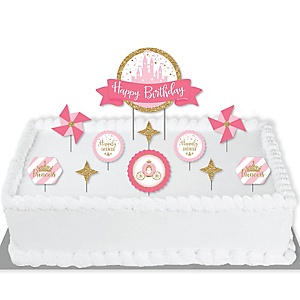 Little Princess Crown - Pink and Gold Princess Birthday Party Cake Decorating Kit - Happy Birthday Cake Topper Set - 11 Pieces