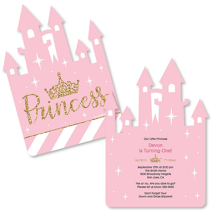 Little Princess Crown - Shaped Birthday Party Invitations - Set of 12