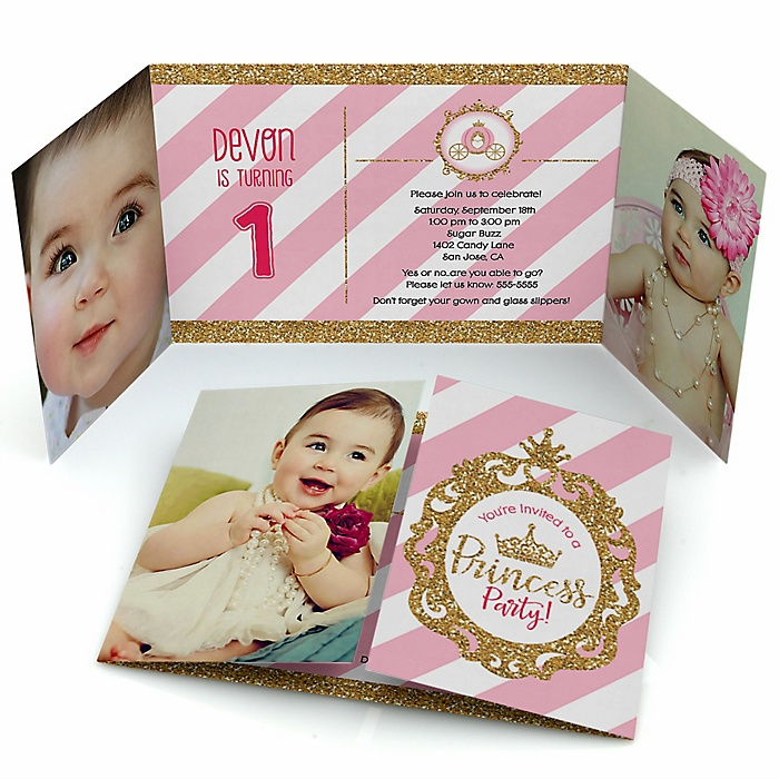 Little Princess Crown - Personalized Birthday Party Photo Invitations - Set of 12