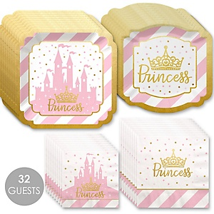 Little Princess Crown with Gold Foil - Pink and Gold Princess Baby Shower or Birthday Party Tableware Plates and Napkins - Bundle for 32