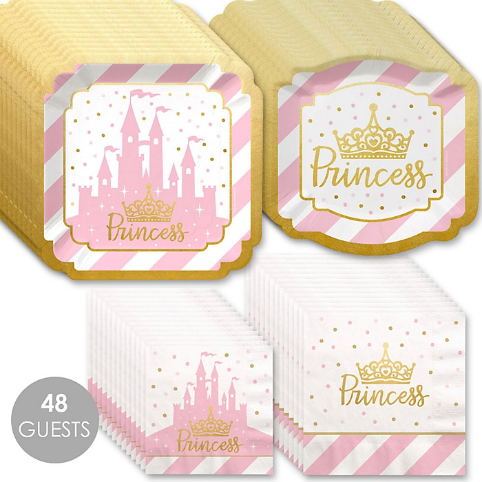 Little Princess Crown with Gold Foil - Pink and Gold Princess Baby Shower or Birthday Party Tableware Plates and Napkins - Bundle for 48
