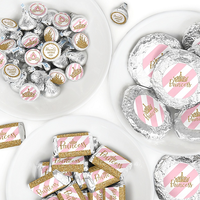 Little Princess Crown - Mini Candy Bar Wrappers, Round Candy Stickers and Circle Stickers - Pink and Gold Princess Baby Shower or Birthday Party Candy Favor Sticker Kit - 304 Pieces