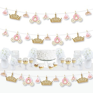 Little Princess Crown - Pink and Gold Princess Baby Shower or Birthday Party DIY Decorations - Clothespin Garland Banner - 44 Pieces