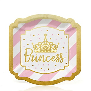 Little Princess Crown with Gold Foil - Pink and Gold Princess Baby Shower or Birthday Party Dessert Plates  - 16 ct