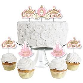 Little Princess Crown - Dessert Cupcake Toppers - Pink and Gold Princess Baby Shower or Birthday Party Clear Treat Picks - Set of 24