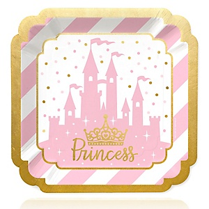 Little Princess Crown with Gold Foil - Pink and Gold Princess Baby Shower or Birthday Party Dinner Plates - 16 ct