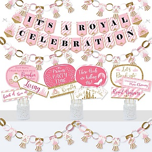 Little Princess Crown - Banner and Photo Booth Decorations - Pink and Gold Princess Baby Shower or Birthday Party Supplies Kit - Doterrific Bundle