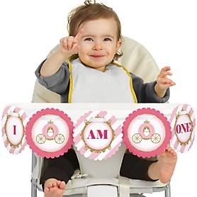 Little Princess Crown 1st Birthday - I am One - First Birthday High Chair Banner