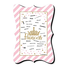 Little Princess Crown - Unique Alternative Guest Book - Pink and Gold Princess Baby Shower or Birthday Party Signature Mat