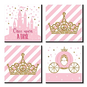 Little Princess Crown - Kids Room, Nursery Decor and Home Decor - 11 x 11 inches Nursery Wall Art - Set of 4 Prints for Baby's Room