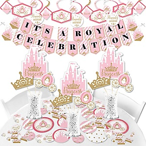 Little Princess Crown - Pink and Gold Princess Baby Shower or Birthday Party Supplies - Banner Decoration Kit - Fundle Bundle