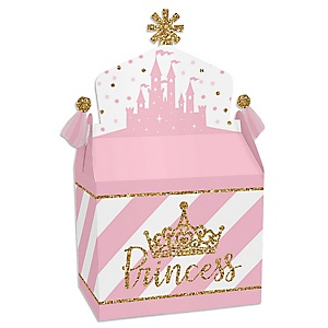 Little Princess Crown - Treat Box Party Favors - Pink and Gold Princess Baby Shower or Birthday Party Goodie Gable Boxes - Set of 12