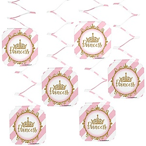 Little Princess Crown - Pink and Gold Princess Baby Shower or Birthday Party Hanging Decorations - 6 ct