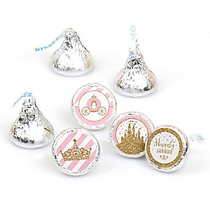 Little Princess Crown - Pink and Gold Princess Baby Shower or Birthday Party Round Candy Sticker Favors - Labels Fit Hershey's Kisses (1 sheet of 108)