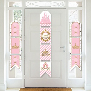 Little Princess Crown - Hanging Vertical Paper Door Banners - Pink and Gold Princess Baby Shower or Birthday Party Wall Decoration Kit - Indoor Door Decor