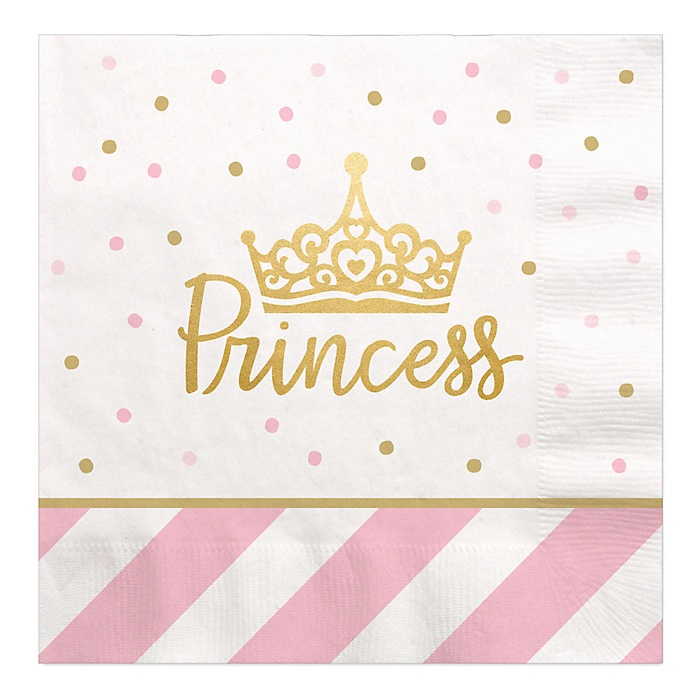 Little Princess Crown with Gold Foil - Pink and Gold Princess Baby Shower or Birthday Party Luncheon Napkins - 16 ct
