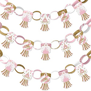 Little Princess Crown - 90 Chain Links and 30 Paper Tassels Decoration Kit - Pink and Gold Princess Baby Shower or Birthday Party Paper Chains Garland - 21 feet