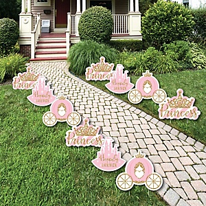 Little Princess Crown - Crown, Castle & Carriage Lawn Decorations - Outdoor Pink and Gold Princess Baby Shower or Birthday Party Yard Decorations - 10 Piece