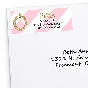 Little Princess Crown - Personalized Pink and Gold Princess Baby Shower or Birthday Party Return Address Labels - 30 ct