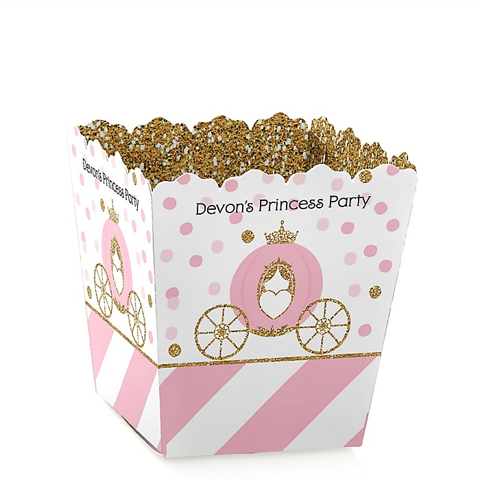 Little Princess Crown - Party Mini Favor Boxes - Personalized Pink and Gold Princess Baby Shower or Birthday Party Treat Candy Boxes - Set of 12