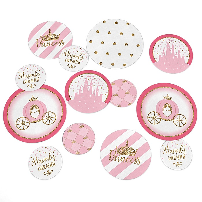 Little Princess Crown - Pink and Gold Princess Baby Shower or Birthday Party Giant Circle Confetti - Princess Party Decorations - Large Confetti 27 Count