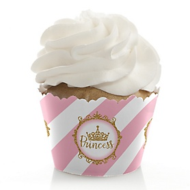 Little Princess Crown - Pink and Gold Princess Baby Shower or Birthday Decorations - Party Cupcake Wrappers - Set of 12