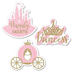 Little Princess Crown - DIY Shaped Pink and Gold Princess Baby Shower or Birthday Party Cut-Outs - 24 ct