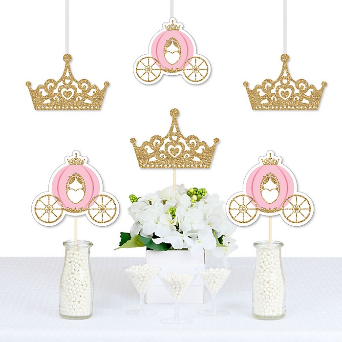 Little Princess Crown - Decorations DIY Pink and Gold Princess Baby Shower or Birthday Party Essentials - Set of 20
