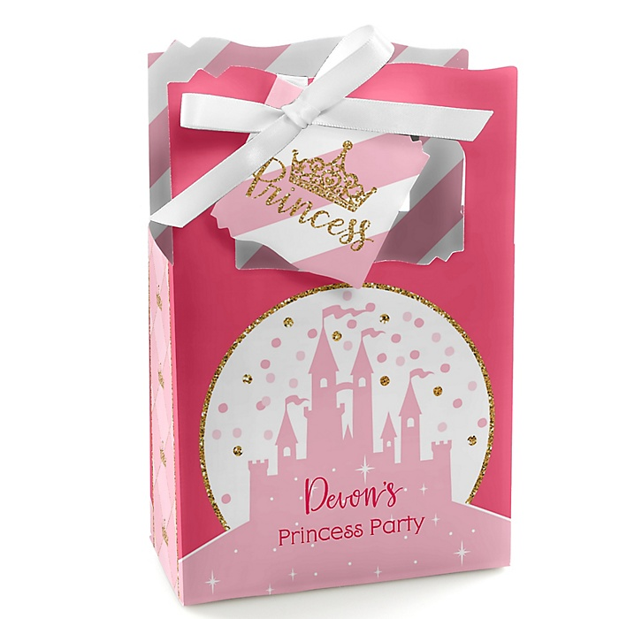 Little Princess Crown - Personalized Pink and Gold Princess Baby Shower or Birthday Party Favor Boxes - Set of 12