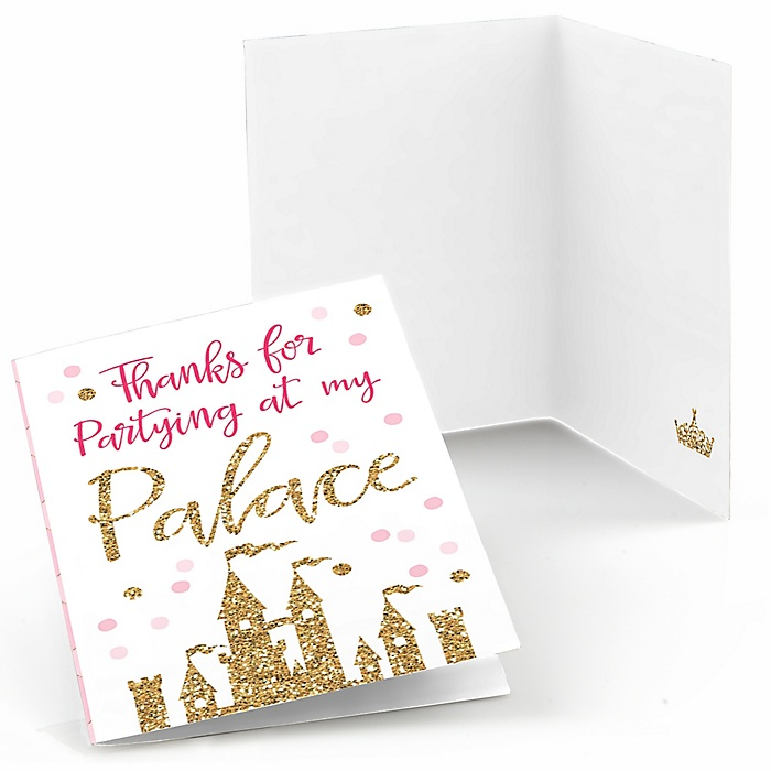Little Princess Crown - Pink and Gold Princess Baby Shower or Birthday Party Thank You Cards  - 8 ct