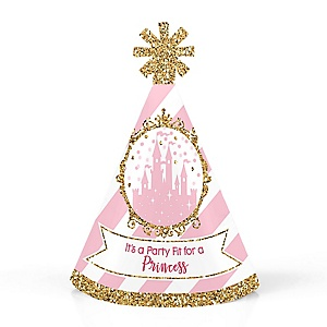 Little Princess Crown - Personalized Mini Cone Pink and Gold Princess Baby Shower or Birthday Party Hats - Small Little Party Hats - Set of 10