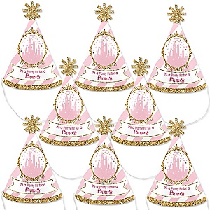Little Princess Crown - Mini Cone Pink and Gold Princess Baby Shower or Birthday Party Hats - Small Little Party Hats - Set of 8