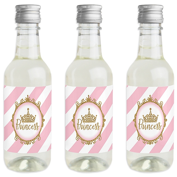 Little Princess Crown - Mini Wine and Champagne Bottle Label Stickers - Pink and Gold Princess Baby Shower or Birthday Party Favor Gift for Women and Men - Set of 16