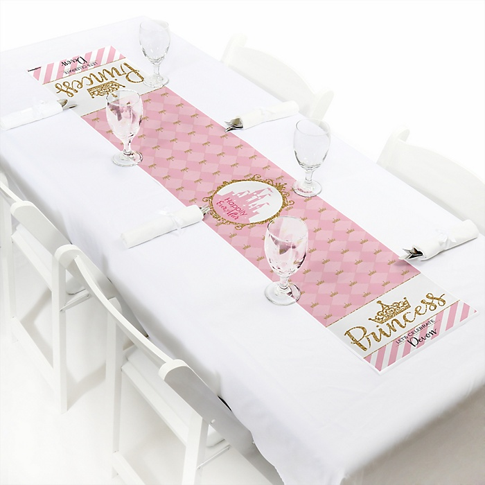 "Little Princess Crown - Personalized Petite Pink and Gold Princess Baby Shower or Birthday Party Table Runner - 12"" x 60"""
