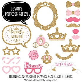 Little Princess Crown - 20 Piece Pink and Gold Princess Baby Shower or Birthday Party Photo Booth Props Kit