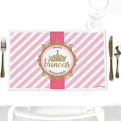 Little Princess Crown   Party Table Decorations   Personalized Pink And  Gold Princess Baby Shower Or Birthday Party Placemats   Set Of 12 ...