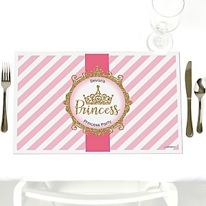 Little Princess Crown - Party Table Decorations - Personalized Pink and Gold Princess Baby Shower or Birthday Party Placemats - Set of 12