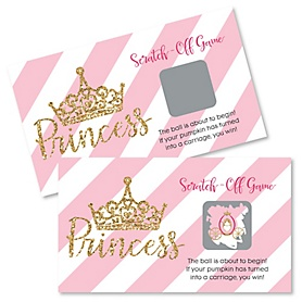 Little Princess Crown - Pink and Gold Princess Baby Shower or Birthday Party Scratch Off Cards - 22 Cards