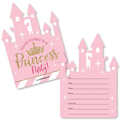 Baby shower fill in invitations thank you cards little princess crown shaped fill in invitations pink and gold princess baby shower or birthday party invitation cards with envelopes set of 12 filmwisefo