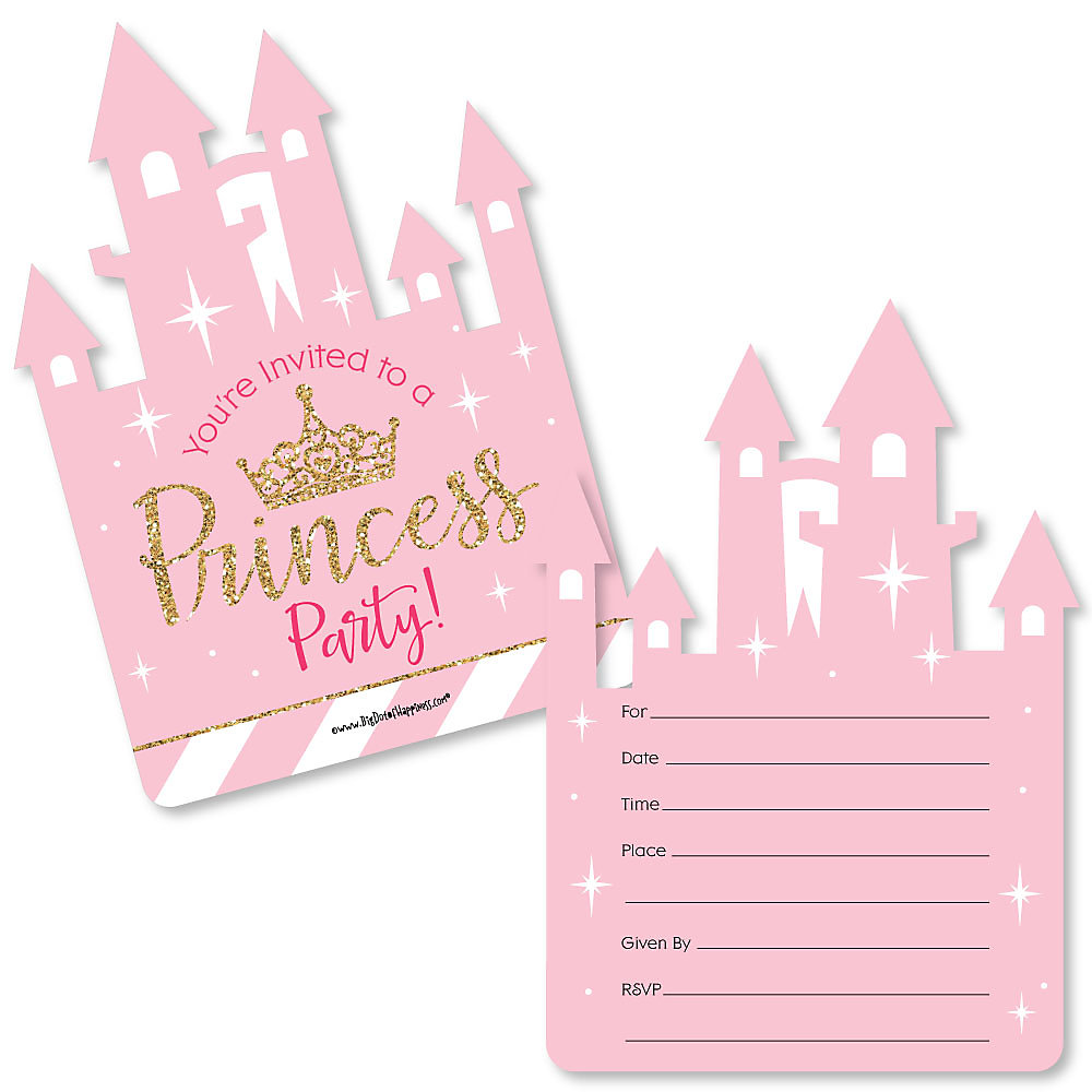 Little Princess Crown - Shaped Fill-In Invitations - Pink and Gold ...