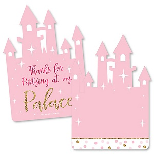 Little Princess Crown - Shaped Thank You Cards - Pink and Gold Princess Baby Shower or Birthday Party Thank You Note Cards with Envelopes - Set of 12