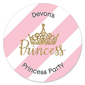 Little Princess Crown - Personalized Pink and Gold Princess Baby Shower or Birthday Party Sticker Labels - 24 ct