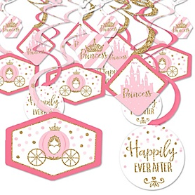 Little Princess Crown - Pink and Gold Princess Baby Shower or Birthday Party Hanging Decor - Party Decoration Swirls - Set of 40