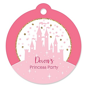 Little Princess Crown - Personalized Pink and Gold Princess Baby Shower or Birthday Party Favor Gift Tags  - 20 ct