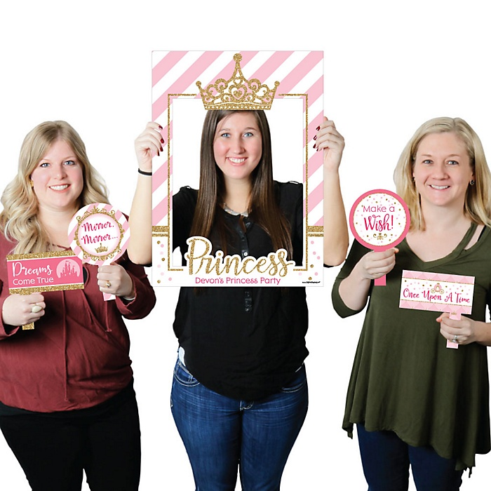 Little Princess Crown - Personalized Pink and Gold Princess Baby Shower or Birthday Party Selfie Photo Booth Picture Frame & Props - Printed on Sturdy Material