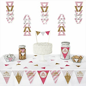 Little Princess Crown -  Triangle Pink and Gold Princess Baby Shower or Birthday Party Decoration Kit - 72 Piece