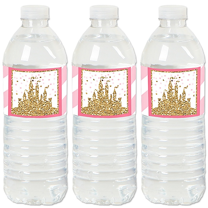 Little Princess Crown - Pink and Gold Princess Baby Shower or Birthday Party Water Bottle Sticker Labels - Set of 20