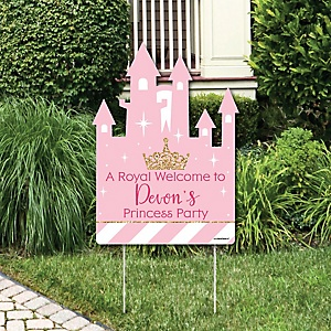 Little Princess Crown - Party Decorations - Pink and Gold Princess Baby Shower or Birthday Party Personalized Welcome Yard Sign