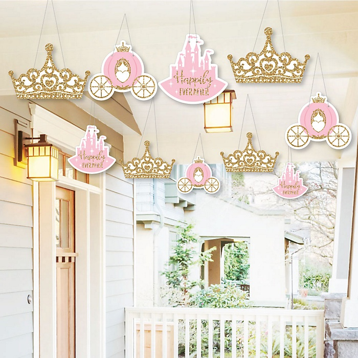 Hanging Little Princess Crown - Outdoor Pink and Gold Princess Baby Shower or Birthday Party Hanging Porch & Tree Yard Decorations - 10 Pieces