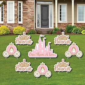 Little Princess Crown - Yard Sign & Outdoor Lawn Decorations - Pink and Gold Princess Baby Shower or Birthday Party Yard Signs - Set of 8